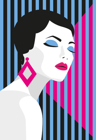 Fashion girl. Bold, minimal style. Pop Art. OpArt, positive negative space and colour. Trendy strips.Vector illustration. - stock vector Illustration