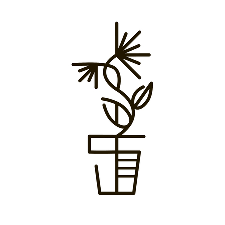 tree logo: Web line icon. Flower in a pot. Line art icon. Thin line sign for design logo. Black outline pictogram on white background