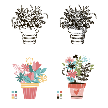 Flowers in pots. Painted black line on a white background. Colored cute style. Vector drawing lines. Иллюстрация