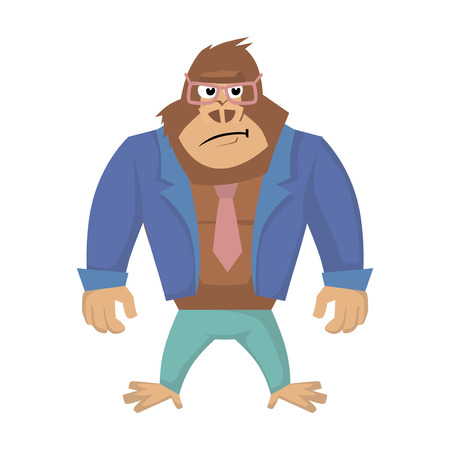 Annoyed gorilla. Vector illustration of business Gorilla Cartoon. Illustration
