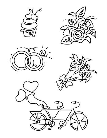 cupcakes isolated: Vector Line Icons set Illustration