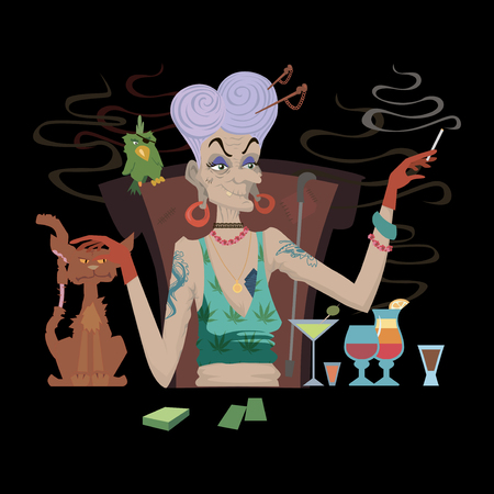 Bad Grandmother with cigarette alcohol and gambling. Vector illustration Illustration