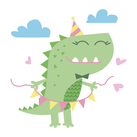 Little cute dinosaur illustration. Greeting card graphics for kids vector illustration Illustration