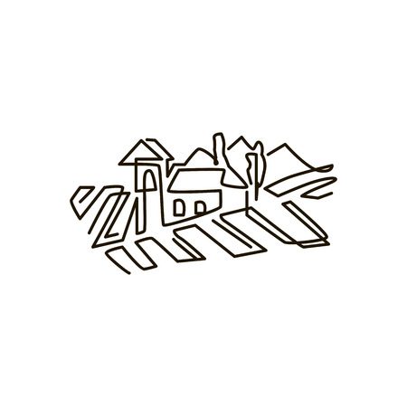 Vector Line icon. Vineyard landscape. One line drawing. Isolated on white background. Continuous single one drawn line Иллюстрация