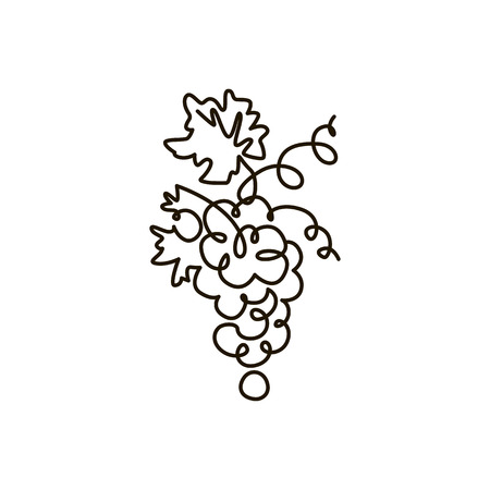 Vector Line icon. Grape. One line drawing. Isolated on white background. Continuous single one drawn line