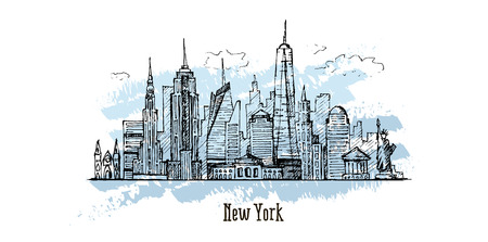New York vector drawing, hand drawn illustration, sketch style. panorama 矢量图像