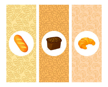 Set of bakery cartoon banners. Cartoon Color Bakery Banner Card Vecrtical Set for design.