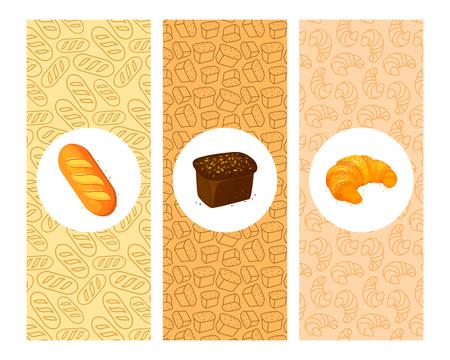 Set of bakery cartoon banners. Cartoon Color Bakery Banner Card Vecrtical Set for design.