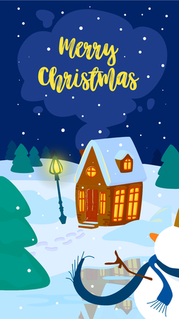 Christmas illustration. Vertical mobile smartphone format. winter landscape with a house and a snowman. Vector illustration. Merry Christmas text.