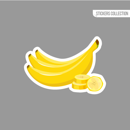 Banana sticker isolated on white background. Bright vector illustration of colorful half and whole of juicy banana . Fresh cartoon