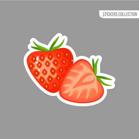 Strawberry sticker isolated on white background. Bright vector illustration of colorful half and whole of juicy Strawberry. Fresh cartoon