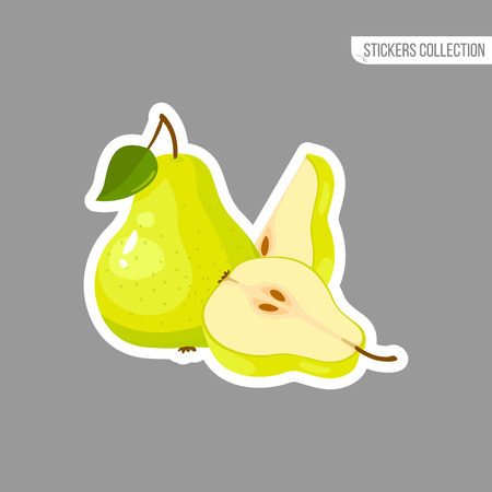 Green pear sticker isolated on white background. Bright vector illustration of colorful half and whole of juicy pear. Fresh cartoon pears.