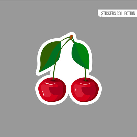 Cherry sticker isolated on white background. Bright vector illustration of colorful two juicy cherries. Fresh cartoon