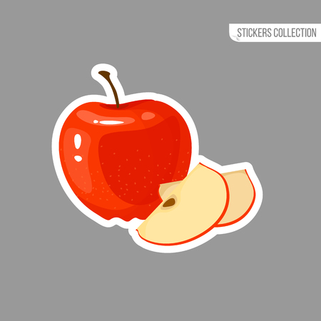Red Apple sticker isolated on white background. Bright vector illustration of colorful half and whole of juicy apple . Fresh cartoon