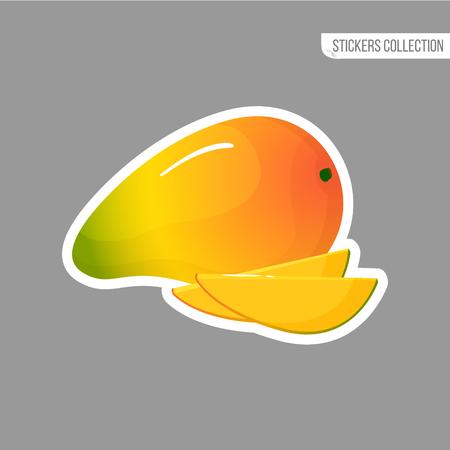 mango sticker isolated on white background. Bright vector illustration of colorful half and whole of juicy mango. Fresh cartoon