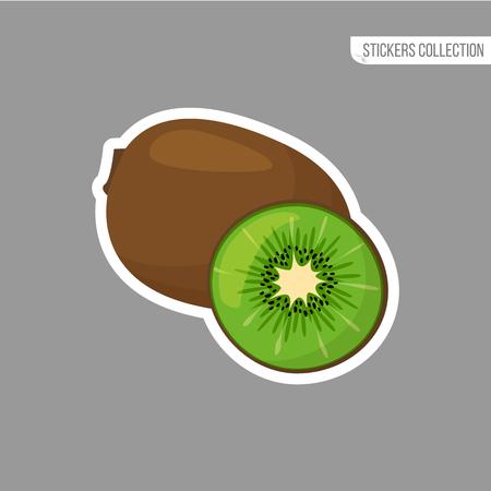 kiwi sticker isolated on white background. Bright vector illustration of colorful half and whole of juicy kiwi. Fresh cartoon Иллюстрация