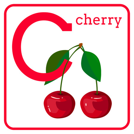 An alphabet with cute fruits, letters A to Z. Cartoon vector alphabet isolated on a white background. Letter C cherry