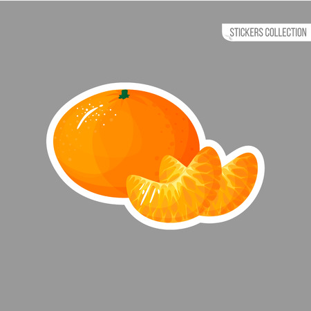 tangerine sticker isolated on white background. Bright vector illustration of colorful half and whole of juicy mandarin. Fresh cartoon Иллюстрация
