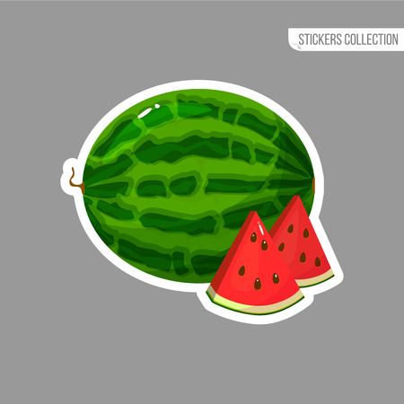 Watermelon sticker isolated on white background. Bright vector illustration of colorful half and whole of juicy watermelon . Fresh cartoon Иллюстрация