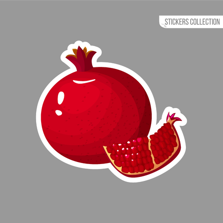 pomegranate sticker isolated on white background. Bright vector illustration of colorful half and whole of juicy pomegranate. Fresh cartoon