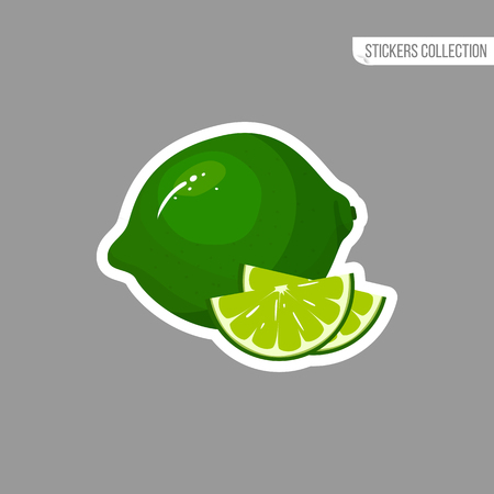 lime sticker isolated on white background. Bright vector illustration of colorful half and whole of juicy lime. Fresh cartoon