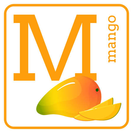 An alphabet with cute fruits, letters A to Z. Cartoon vector alphabet isolated on a white background. Letter M mango