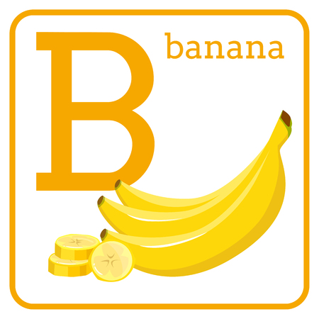 An alphabet with cute fruits, letters A to Z. Cartoon vector alphabet isolated on a white background. Letter B banana Иллюстрация