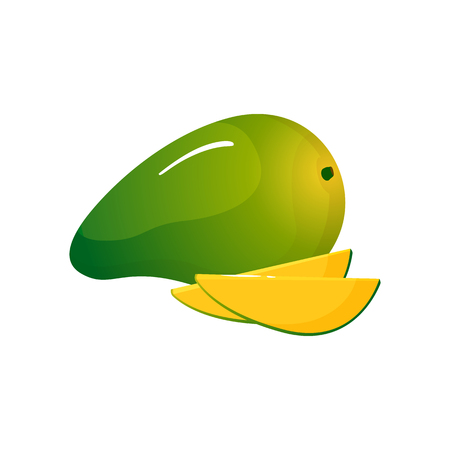 Green mango isolated on white background. Bright vector illustration of colorful half and whole of juicy mango. Fresh cartoon