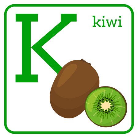 An alphabet with cute fruits, letters A to Z. Cartoon vector alphabet isolated on a white background. Letter K kiwi