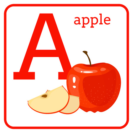 An alphabet with cute fruits, letters A to Z. Cartoon vector alphabet isolated on a white background. Letter A Apple
