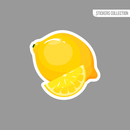 Lemon sticker isolated on white background. Bright vector illustration of colorful half and whole of juicy lemon. Fresh cartoon
