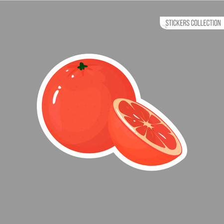 Grapefruit sticker isolated on white background. Bright vector illustration of colorful half and whole of juicy grapefruit. Fresh cartoon