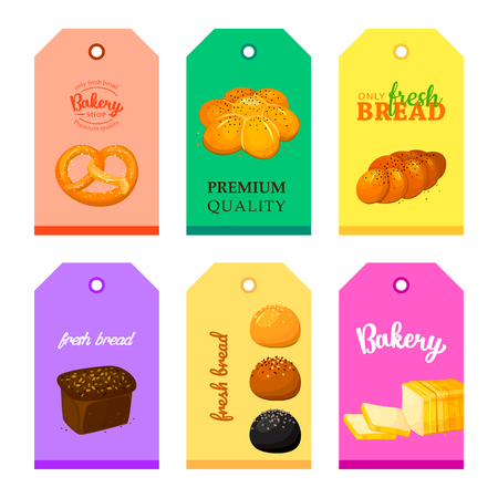 Collection of vector cards shop bakery with breads, loaf, Rye bread, muffin and croissant. Set of templates for business cards, cafe menu, banners, covers, coupons, labels, tag and packaging. cartoon Illustrations. Labels for bakery shop