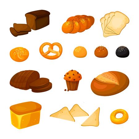 Insieme di vettore di diversi tipi di pane. Icone di prodotti da forno. Pane e pasticceria di vettore. Stile cartone animato.