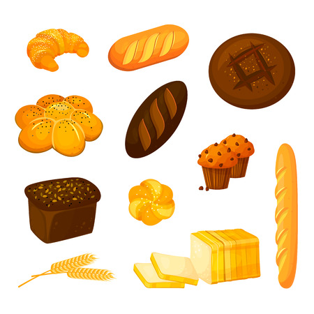 Vector set of different kinds of bread. Bakery products icons. Vector bread and pastry. Cartoon style.