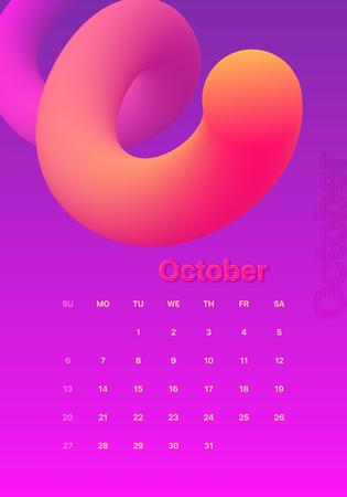 Calendar design for 2019. Colorful set. October. Week starts on Sunday. Fluid shapes, Cool gradients, liquids. Trendy vector collection. Futuristic minimal design. Eps10 vector.