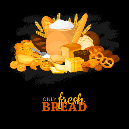 Bakery products including wheat and rye bread, croissants and design elements on black chalkboard vector illustration. cartoon style