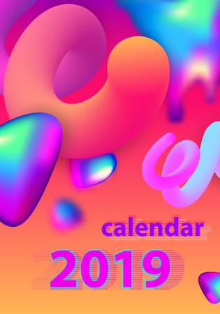 Calendar design for 2019. Colorful set. Week starts on Sunday. Fluid shapes, Cool gradients, liquids. Trendy vector collection. Futuristic minimal design. Eps10 vector. Иллюстрация