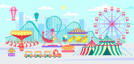 Amusement park, urban landscape with carousels, roller coaster and air balloon. Circus, Fun fair and Carnival theme vector illustration. Vectores