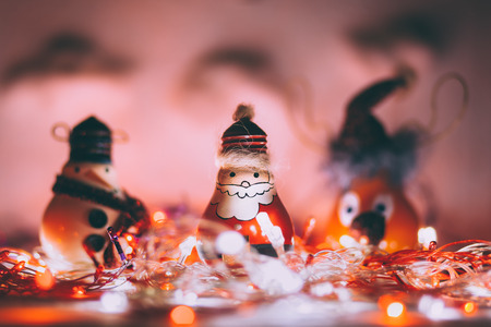 Handmade Christmas decoration with Santa Claus, snowman and reindeer Stock Photo