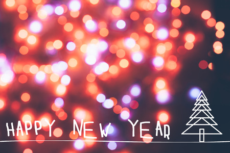 HAPPY NEW YEAR Abstract Christmas lights Stock Photo