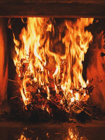 건조 떡갈 나무 굽기 벽난로에 나뭇잎. 크리스마스 이브 동안 정통 기독교의 정의. 스톡 콘텐츠