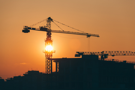 buildingsite: Construction site in sunset with a view Stock Photo