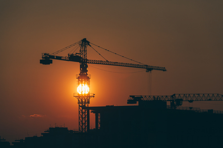 Construction site in sunset with a view 스톡 콘텐츠