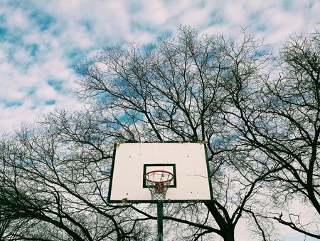Basketball hoop shot from a low angle