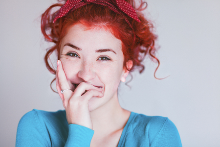Portrait of beautiful young woman laughing