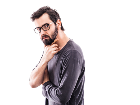 Portrait of a young bearded man with glasses Archivio Fotografico