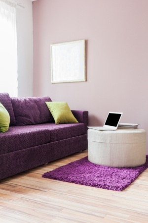 Living room furniture decor, working at home 스톡 콘텐츠