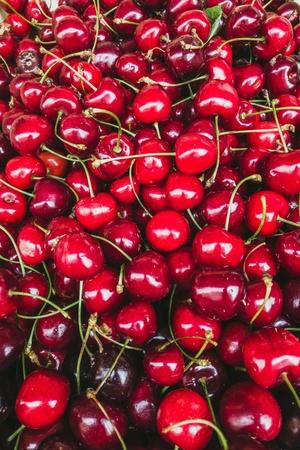 Close-up of cherries in a market Archivio Fotografico