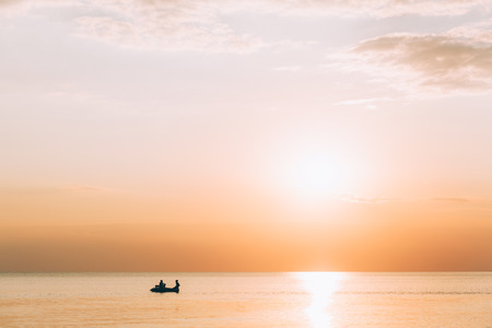 Beautiful view on sunset by the sea 스톡 콘텐츠